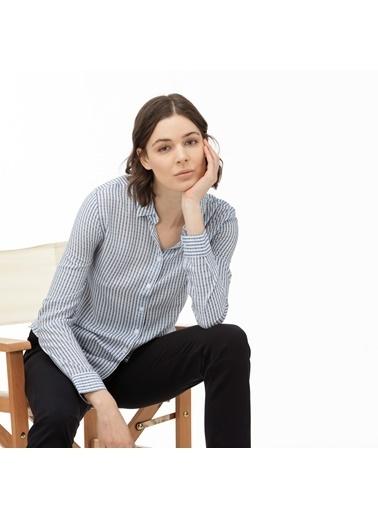 Lacoste Kadın Çizgili Gömlek CF0016.16M Mavi